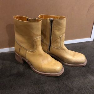 Frye boots, tall ankle. Sandy blonde leather. 9.5M